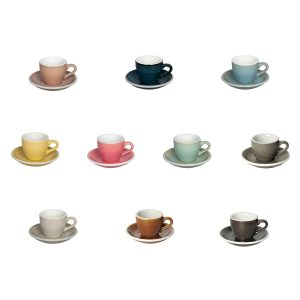Ten Loveramic cups in potter's choice colours